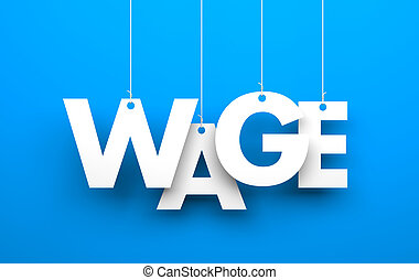 Wage - White word WAGE suspended by ropes on blue background