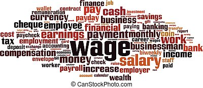 Wage word cloud - Wage cloud concept. Collage made of words...