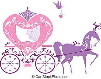 wagen, ouderwetse , fairytale, paarde