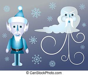 wagenheber, frost, und, alter mann, winter