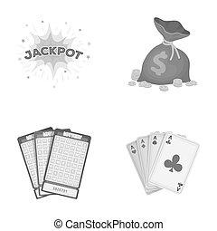 wagenheber, schweißperlen, a, tasche, mit, geld, gewonnen, karten, für, spielende , bingo, spielende , karten., kasino, und, gluecksspiel, satz, sammlung, heiligenbilder, in, monochrom, stil, raster, bitmap, symbol, haben abbildung lager, web.