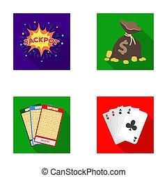 wagenheber, schweißperlen, a, tasche, mit, geld, gewonnen, karten, für, spielende , bingo, spielende , karten., kasino, und, gluecksspiel, satz, sammlung, heiligenbilder, in, wohnung, stil, raster, symbol, haben abbildung lager, web.