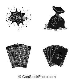 wagenheber, schweißperlen, a, tasche, mit, geld, gewonnen, karten, für, spielende , bingo, spielende , karten., kasino, und, gluecksspiel, satz, sammlung, heiligenbilder, in, schwarz, stil, raster, symbol, haben abbildung lager, web.