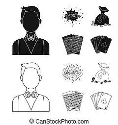 wagenheber, schweißperlen, a, tasche, mit, geld, gewonnen, karten, für, spielende , bingo, spielende , karten., kasino, und, gluecksspiel, satz, sammlung, heiligenbilder, in, schwarz, stil, bitmap, symbol, haben abbildung lager, web.