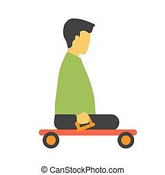 wagentje, footless, vrijstaand, invalide, persoon, vector, witte , vervoeren