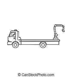 waggon, kunst, -, abbildung, vektor, ikone, lastwagen, linie, kranservice, transport