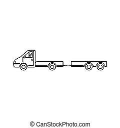 waggon, kunst, -, abbildung, vektor, minivan, transport, ikone, lastwagen, linie, anhänger