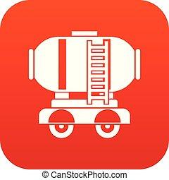 Waggon storage tank with oil icon digital red for any design...