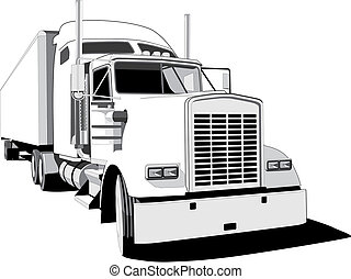 Waggon - vectorial BW image of waggon isolated on white ...