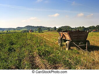 wagon, akker
