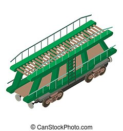 Wagon car icon, isometric 3d style