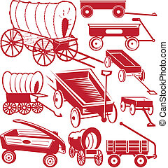 Clip art collection of various wagon designs