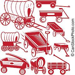 Wagon Collection - Clip art collection of various wagon...