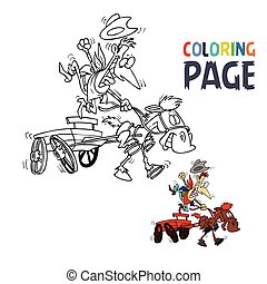 wagon, kleuren, mensen, rijden, spotprent, pagina