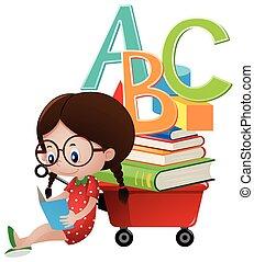 wagon, meisje, boek, lezende