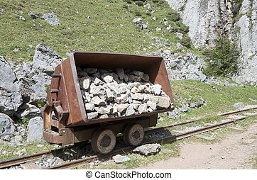 wagon of old abandoned mine in the lakes of Covadonga, ...