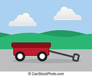 Wagon On Sidewalk - Red wagon outside on a sidewalk