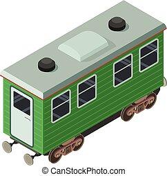 Wagon passenger icon, isometric 3d style