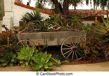 Wagon Planter - Old wooden wagon used as a garden planter