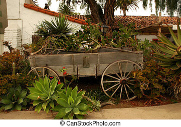 Wagon Planter - Old wooden wagon used as a garden planter