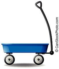 Wagon - Retro blue wagon on white background