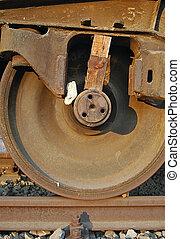wagon, wedged, fragt, hjul