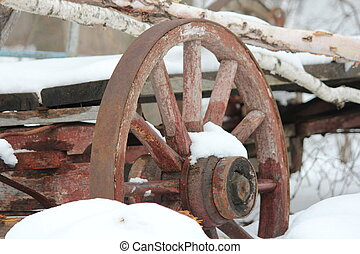 Wagon Whee - Old rustic wagon wheel still attached on old...