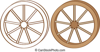 Wagon wheel. Color and contour illustration
