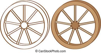 Wagon wheel. Color and contour illustration