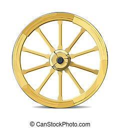 Detailed vector illustration of a wooden wagon wheel