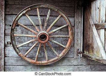Wagon Wheel - Wagon wheel in a barn.