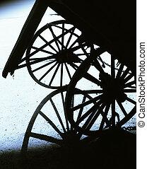 Wagon wheels - Graphic shot of two wagon wheels and shadow