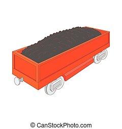 Wagon with coal icon, cartoon style