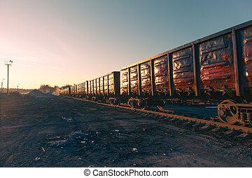 wagons, kiképez, ingóságok, napkelte, rakomány