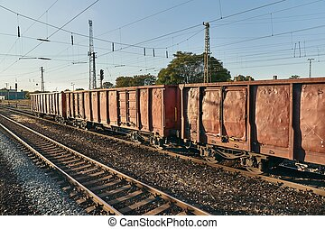 wagons, kiképez, rakomány