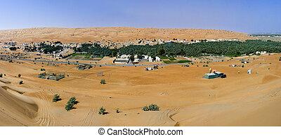 wahiba, panorama, arenas, omán, aldea