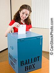 wahl, -, junger, wähler, wirft, stimmzettel