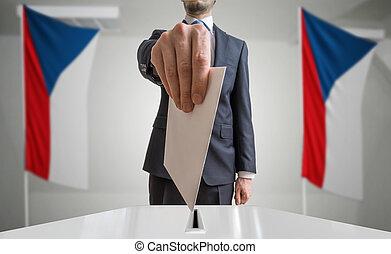 wahl, oder, referendum, in, tschechisch, republic., wähler,...