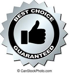 wahlmöglichkeit, vektor, guaranteed, am besten, etikett