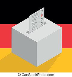 wahlurne, auf, deutschlandflagge