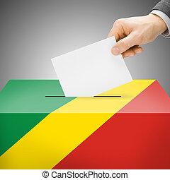wahlurne, gemalt, in, nationales kennzeichen, -, demokratisch, republik kongos