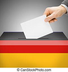 wahlurne, gemalt, in, nationales kennzeichen, -, deutschland