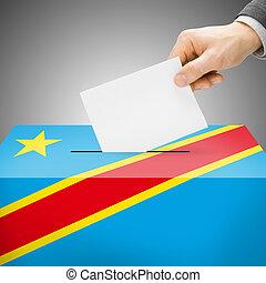 wahlurne, gemalt, in, nationales kennzeichen, -, republik kongos