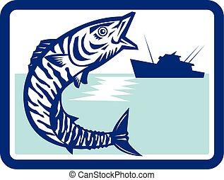 Wahoo Fish Jumping Fishing Boat Rectangle Retro