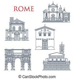 wahrzeichen, berühmt, rom, italien, architektur