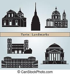wahrzeichen, denkmäler, freigestellt, turin