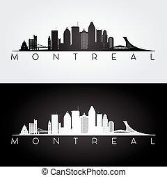 wahrzeichen, montreal, silhouette., skyline
