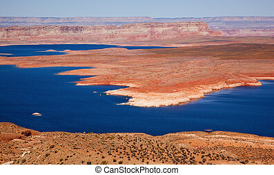 Wahweap Bay Red Rocks Blue Lake Powell Glen Canyon Recreation Area Arizona
