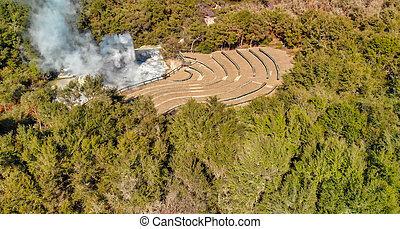 Wai-O-Tapu National Park aerial view, Rotorua