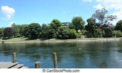 Waikato River Hamilton New Zealand. - Landscape of the...